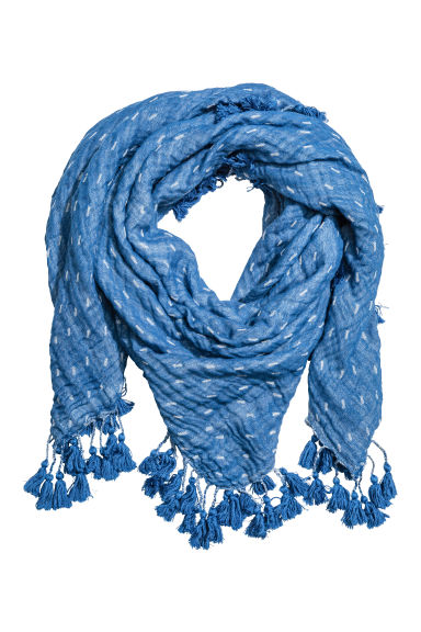 Cotton scarf with tassels - Blue/Patterned - Ladies | H&M CN 1